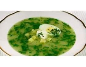 Холодні зелені щі з яйцем фото