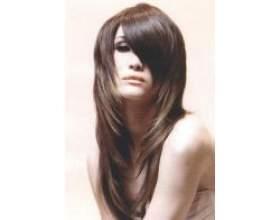 Стрижки на довге волосся з косою чубчиком фото